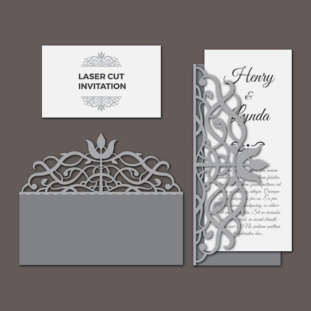 Invitation de mariage à coupe au laser Vecteur gratuit