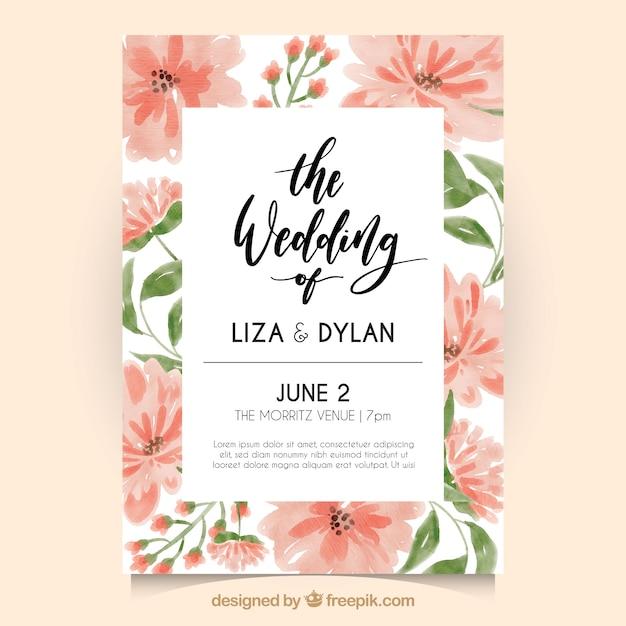 Invitation de mariage avec des fleurs d'aquarelle Vecteur gratuit