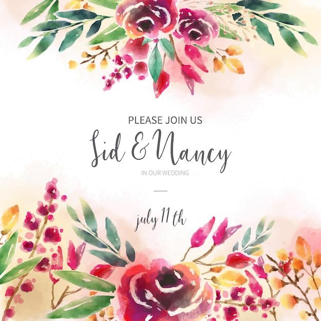 Invitation de mariage avec fond floral Vecteur gratuit