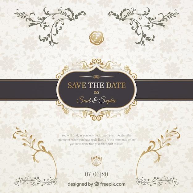 Invitation de mariage avec un élégant ruban noir Vecteur gratuit