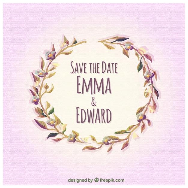 invitation de mariage daquarelle avec une couronne de fleurs vecteur gratuit