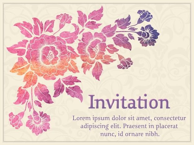 Invitation de mariage et carte d'annonce avec oeuvre d'art floral Vecteur gratuit