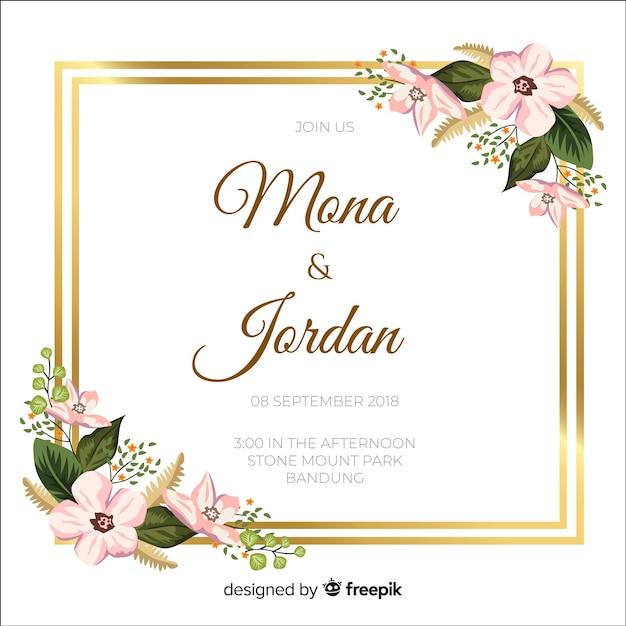 Invitation de mariage floral avec cadre doré Vecteur gratuit