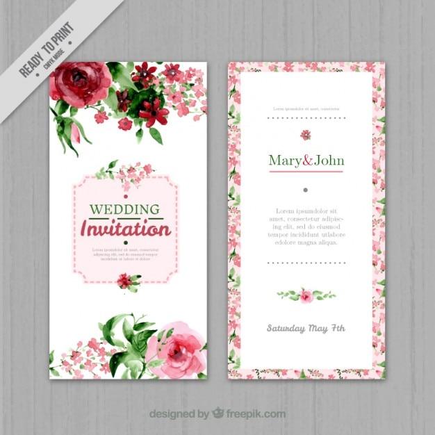 invitation de mariage floral d'aquarelle Vecteur gratuit