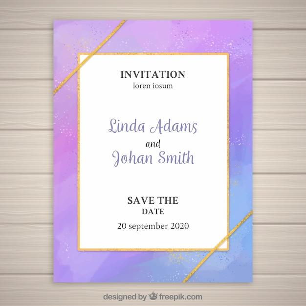 Invitation de mariage moderne et colorée Vecteur gratuit