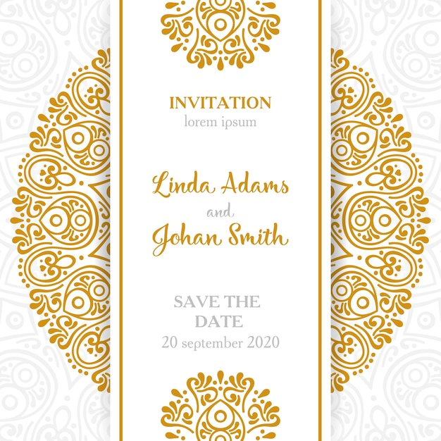 Invitation de mariage Vintage éléments décoratifs avec mandala Vecteur gratuit