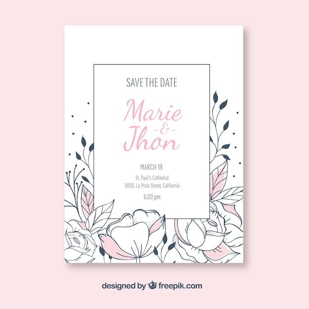 Invitation de Weddin avec des fleurs dessinées à la main Vecteur gratuit