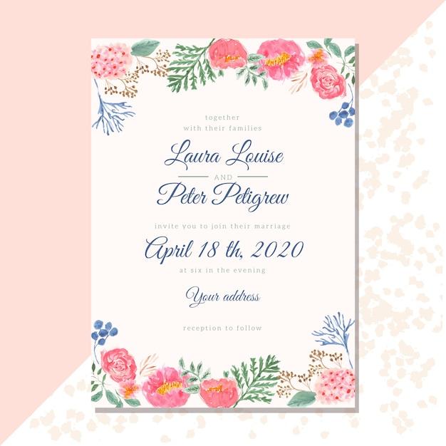 Invitation à désherber avec bordure florale aquarelle Vecteur Premium