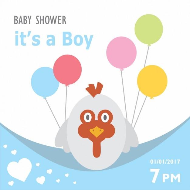 Invitation de douche de bébé avec une conception de poule Vecteur gratuit