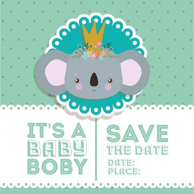 Invitation De Douche De Bébé Avec Dessin Animé Koala Vecteur Premium