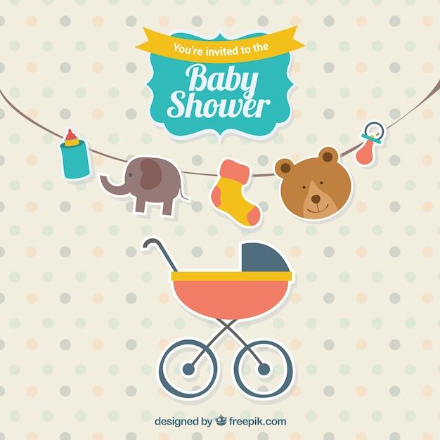 Invitation de douche de bébé mignon Vecteur gratuit