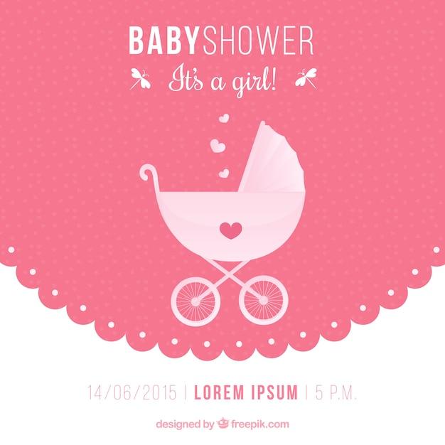 Invitation de douche de bébé avec une poussette Vecteur gratuit