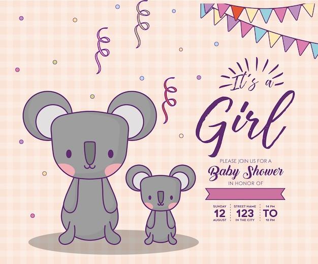 Invitation de douche de bébé avec son un concept de fille avec des koalas mignons sur fond orange, des couleurs Vecteur Premium
