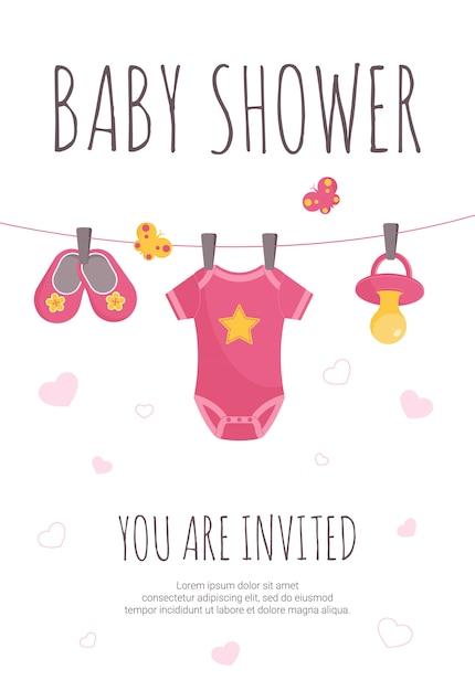 Invitation de douche de bébé Vecteur Premium