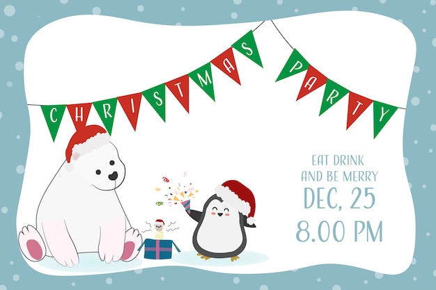 Invitation drôle drôle de fête de noël d'ours et de pingouin Vecteur Premium