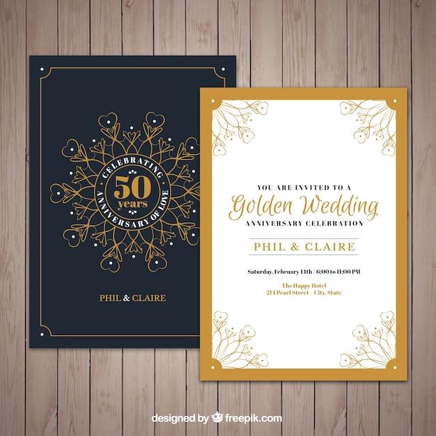 Invitation du jubilé d'or avec des ornements Vecteur gratuit
