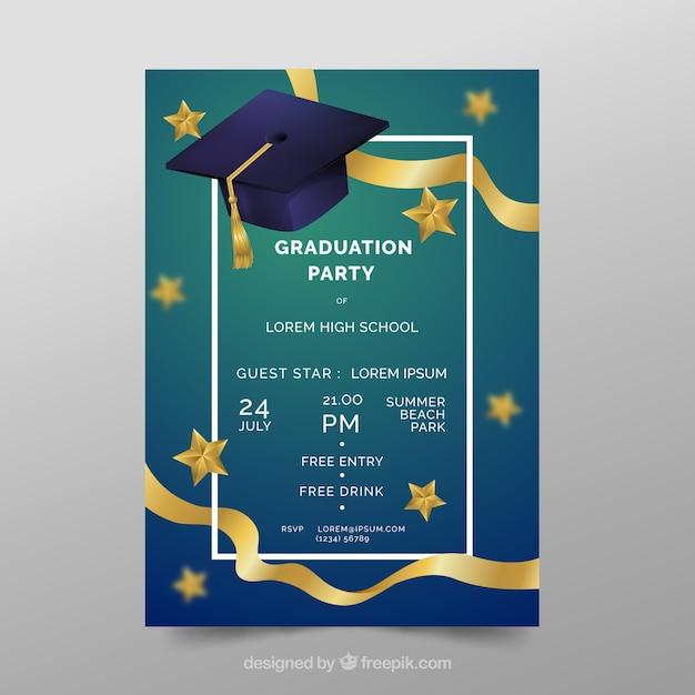 Invitation élégante fête de remise des diplômes avec un design réaliste Vecteur gratuit