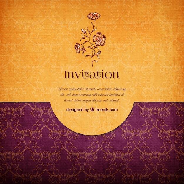 Invitation élégante Floral Vecteur gratuit
