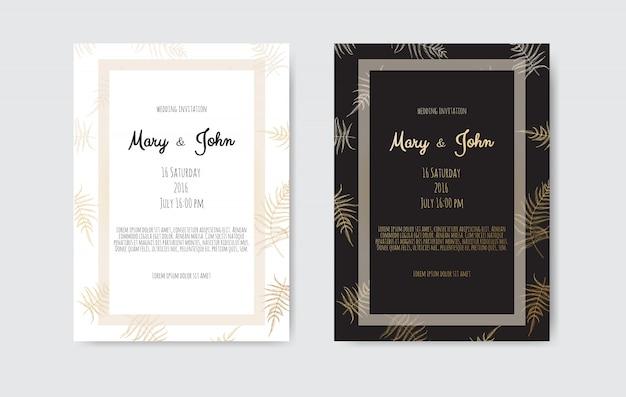 Invitation avec éléments floraux or. cartes d'invitation de mariage avec des éléments floraux Vecteur Premium