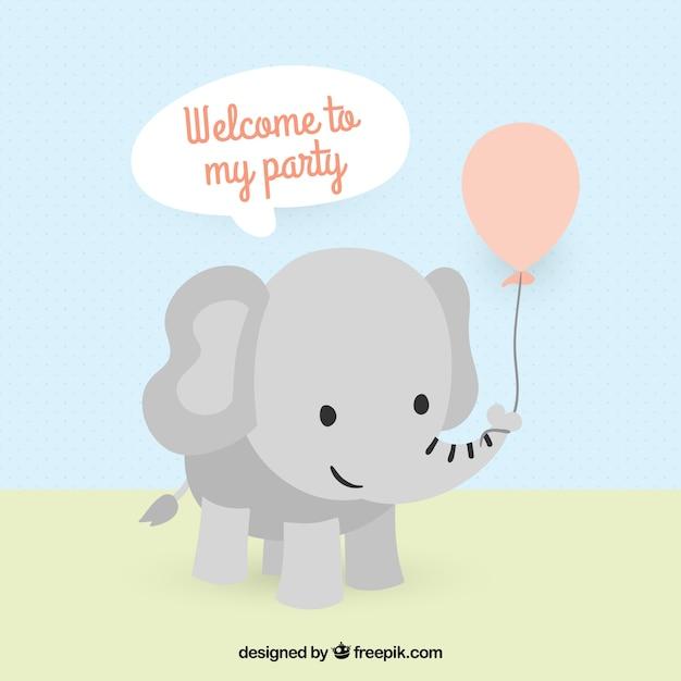 Invitation d'éléphant mignon pour la fête d'anniversaire Vecteur gratuit