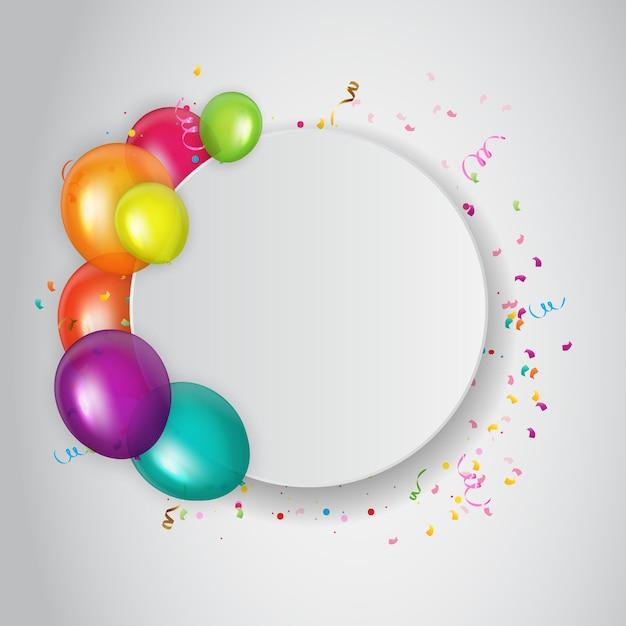 Invitation à Une Fête D'anniversaire Abstraite Avec Un Endroit Vide Pour Photo.   Vecteur Premium