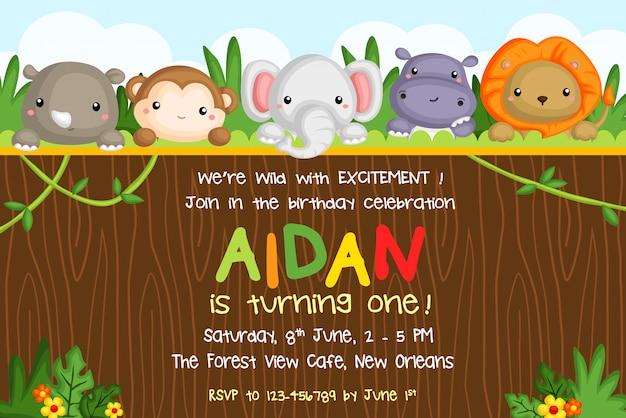 Invitation de fête d'anniversaire d'animaux de safari Vecteur Premium