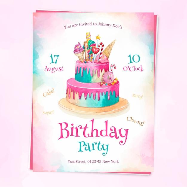 Invitation de fête d'anniversaire colorée Vecteur Premium