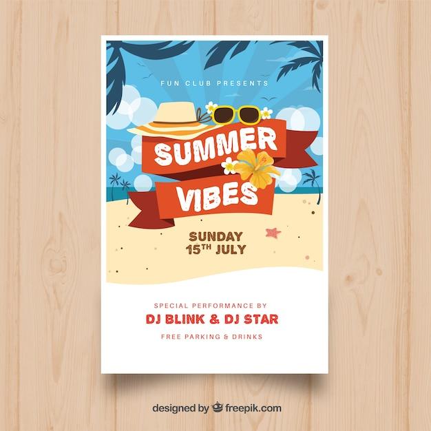Invitation de fête d'été avec des éléments de plage Vecteur gratuit