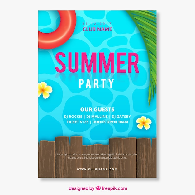 Invitation de fête d'été avec piscine dans un style réaliste Vecteur gratuit