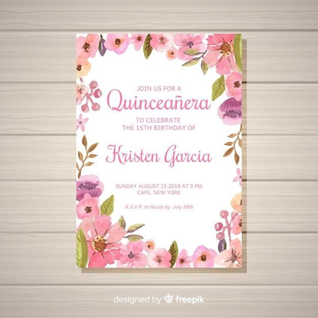 Invitation de fête florale quinceañera Vecteur gratuit
