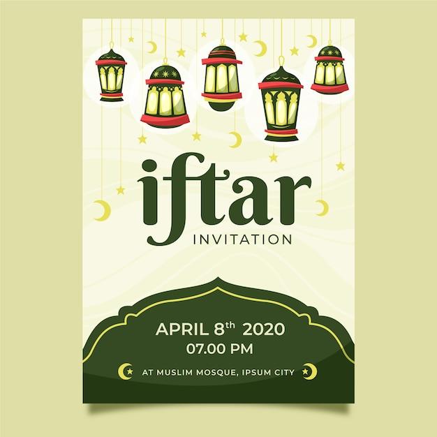 Invitation à Une Fête Iftar Dessinée à La Main Vecteur gratuit