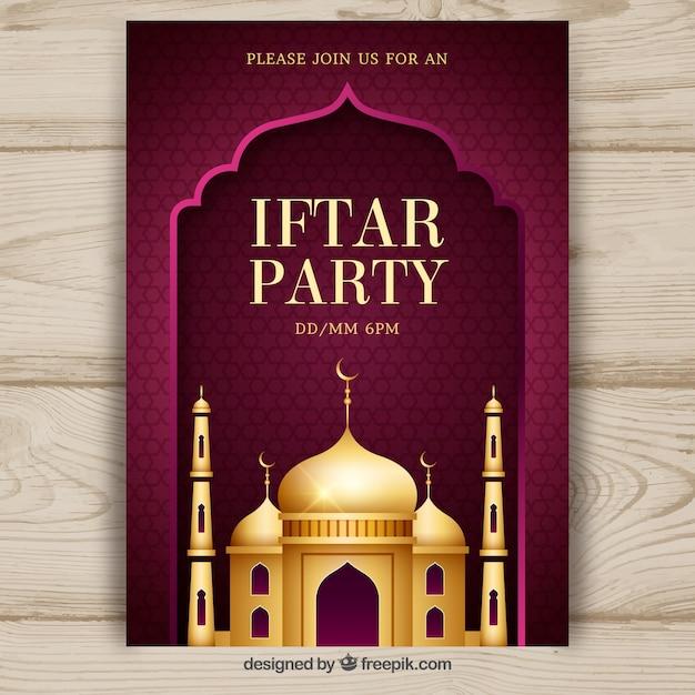 Invitation à la fête iftar avec mosquée dorée Vecteur gratuit