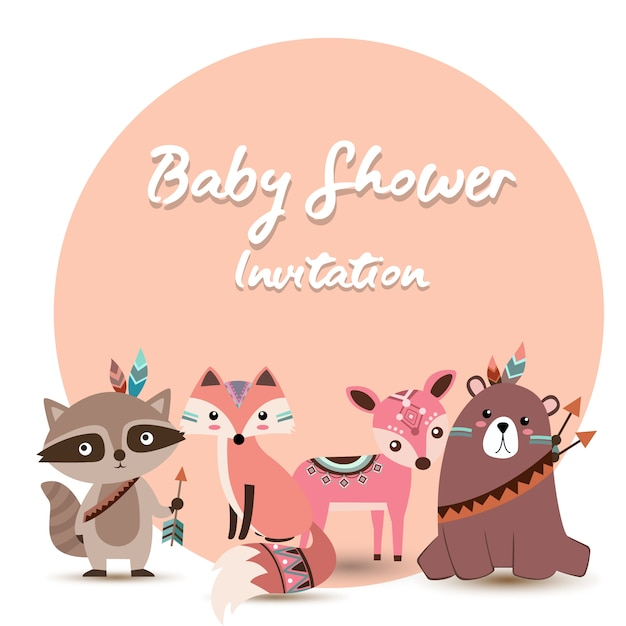 Invitation de fête de naissance avec adorables animaux boho Vecteur Premium
