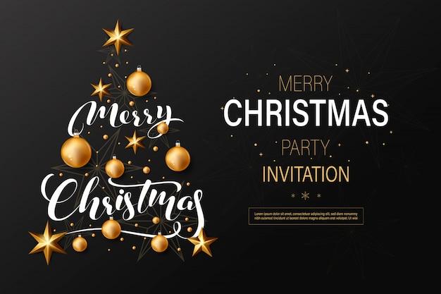 Invitation à la fête de noël avec des boules de noël dorées Vecteur Premium