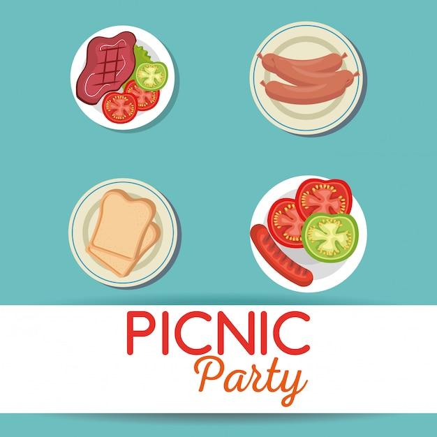 Invitation de fête de pique-nique icônes définies Vecteur gratuit