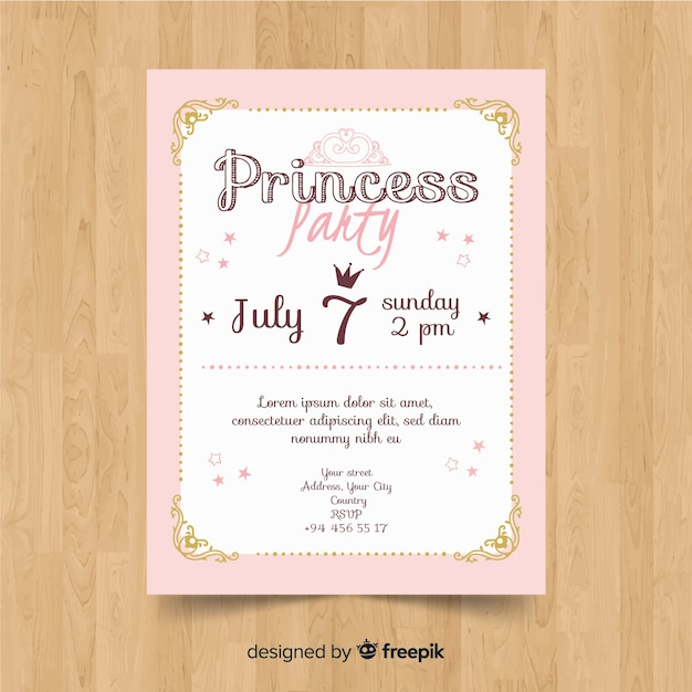 Invitation de fête princesse dessinée à la main Vecteur gratuit