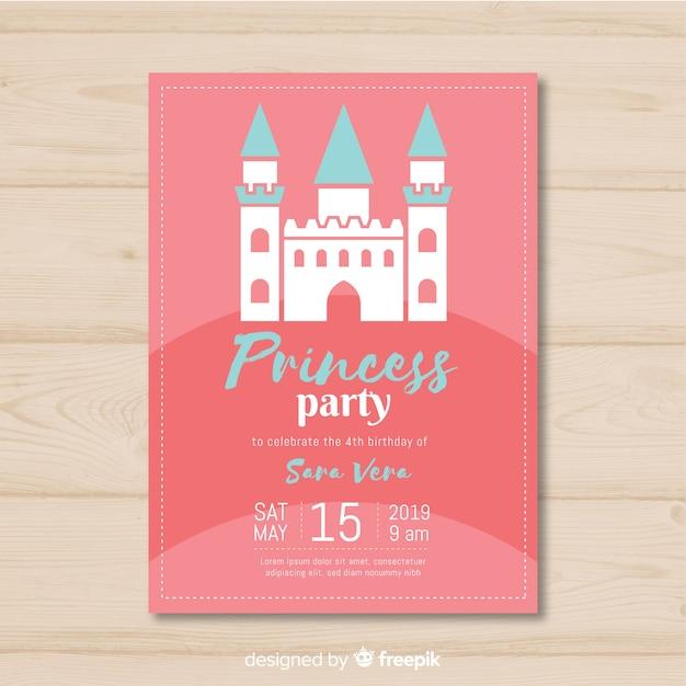 Invitation de fête princesse plate Vecteur gratuit
