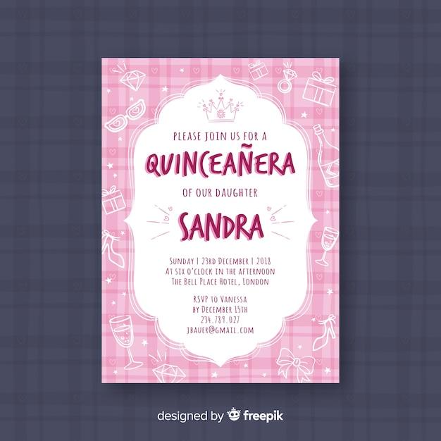 Invitation de fête quinceañera rose avec des bijoux Vecteur gratuit