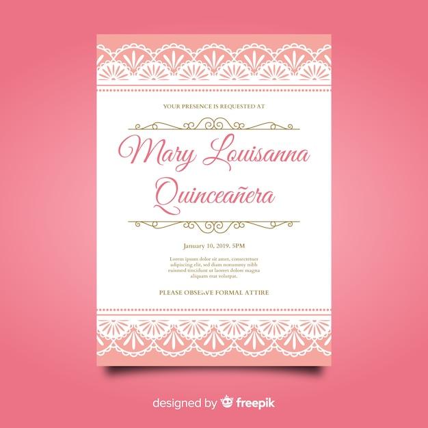 Invitation à une fête quinceañera rose Vecteur gratuit