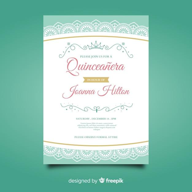 Invitation à la fête quinceañera Vecteur gratuit
