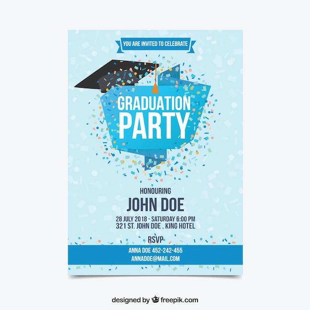 Invitation de fête de remise des diplômes avec des confettis Vecteur gratuit