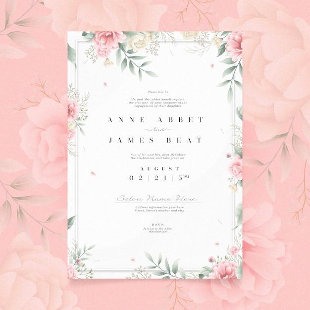 Invitation De Fiançailles Avec Concept Floral Vecteur gratuit