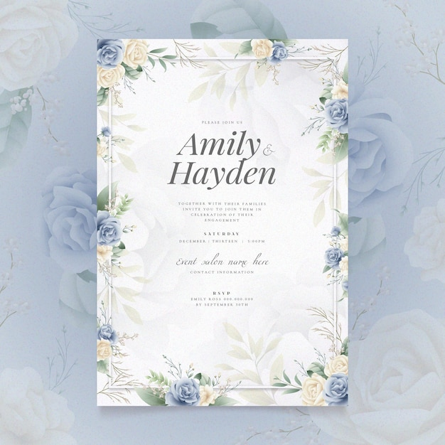 Invitation De Fiançailles Avec Motif Floral Vecteur gratuit