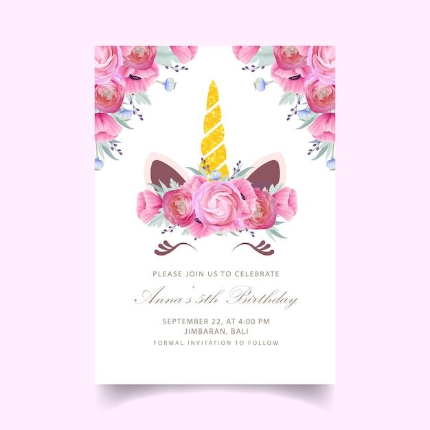 Invitation florale d'anniversaire pour enfants avec une licorne mignonne Vecteur Premium