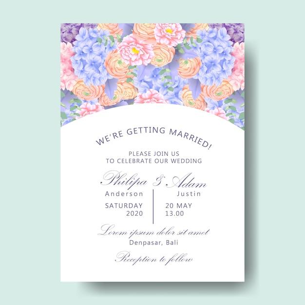 Invitation florale de mariage avec hortensia, renoncule, pivoine, feuilles d'eucalyptus, mil poussiéreux Vecteur Premium