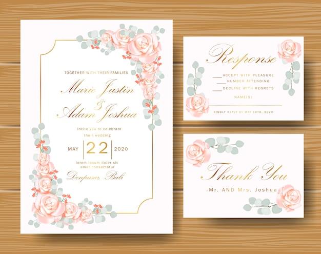 Invitation florale de mariage avec des roses et des feuilles d'eucalyptus Vecteur Premium