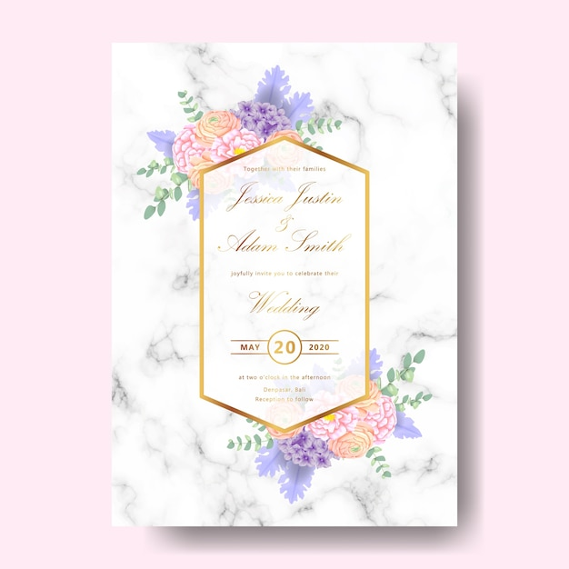Invitation florale de mariage Vecteur Premium