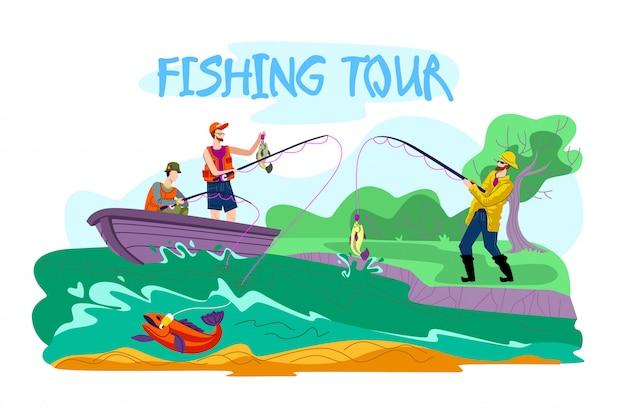 Invitation flyer est cartoon cartoon tour de pêche Vecteur Premium