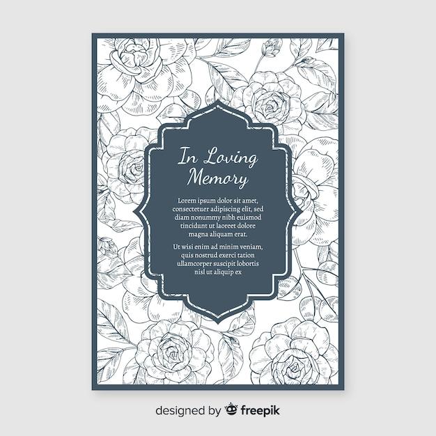 Invitation Funéraire élégante Avec Style Floral Vecteur Premium