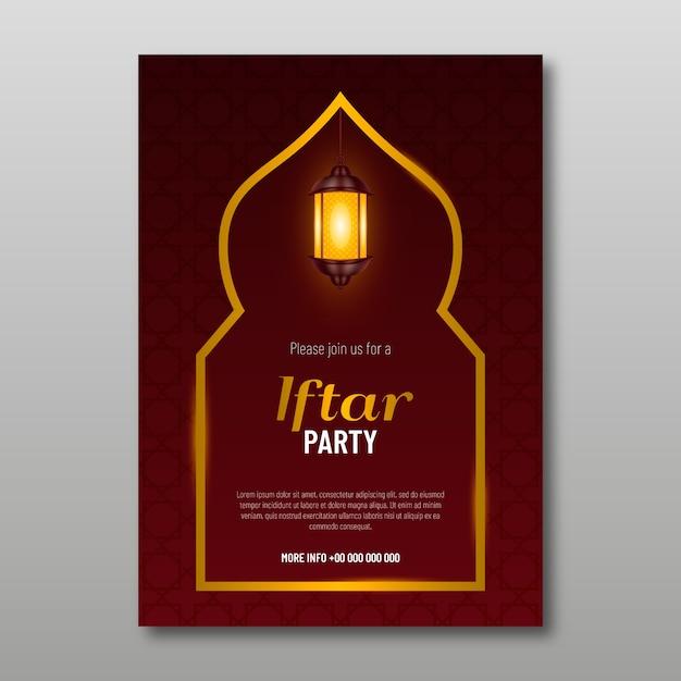 Invitation Iftar De Conception Réaliste Vecteur gratuit
